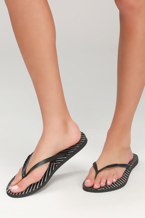 233dd77a2a10 Havaianas Slim Black - Chevron Flip Flops - Black Thong Sandals