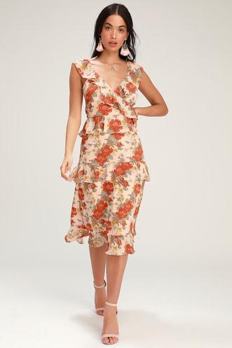 63dc0df0524 Fleur-Evermore Blush Pink Floral Print Ruffled Midi Dress