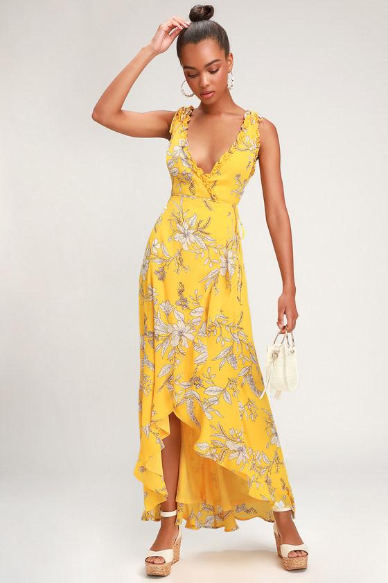 8fc246b42a69 Lovely Yellow Floral Print Dress - Ruffled Maxi - Wrap Dress