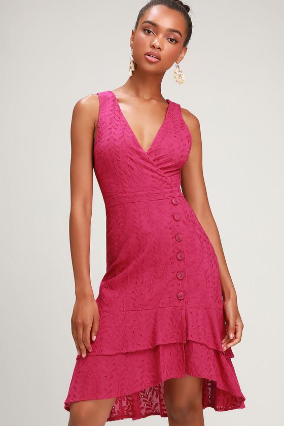 e5f18869ca91 Cute Leaf Eyelet Dress - Midi Dress - Ruffled Dress - Pink Dress