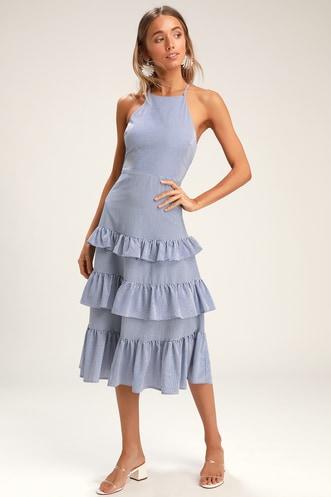 92979f181194 Gentle Breeze Blue Striped Ruffled Midi Dress