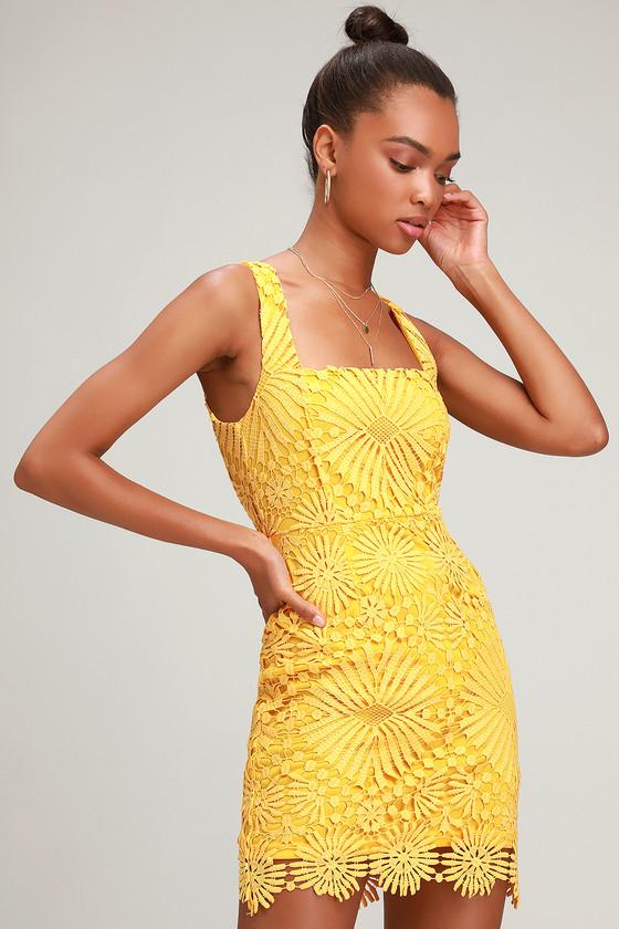Heart Strings Yellow Lace Mini Dress by Lulus