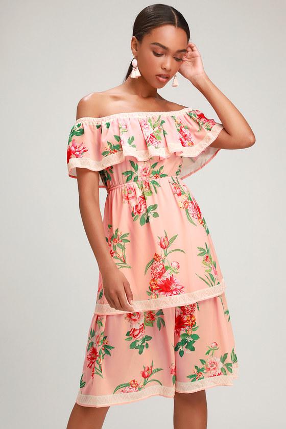 95703a4f3bb4 Lovely Blush Floral Print Dress - Off-the-Shoulder Dress - Midi