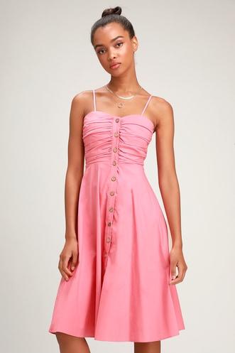 c7c2f29ae94 Lulus Sweet Treat Pink Button-Up Midi Dress.  54 · Socialite Rusty Rose and White  Polka Dot Wrap ...