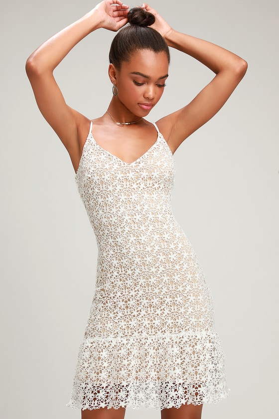 Call For A Toast White And Nude Lace Ruffled Mini Dress