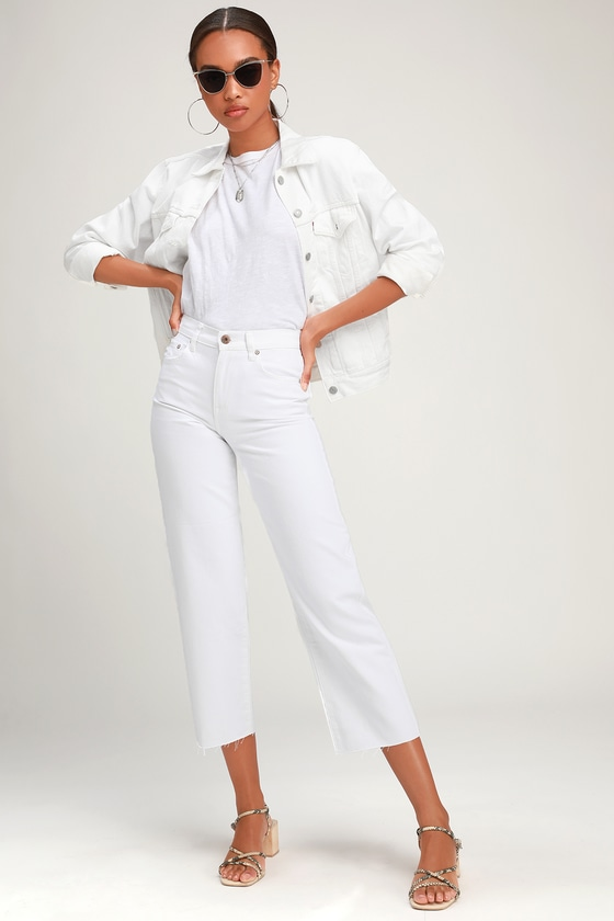 online replicas top-rated authentic Cher White Wide Leg High-Waisted Cropped Jeans