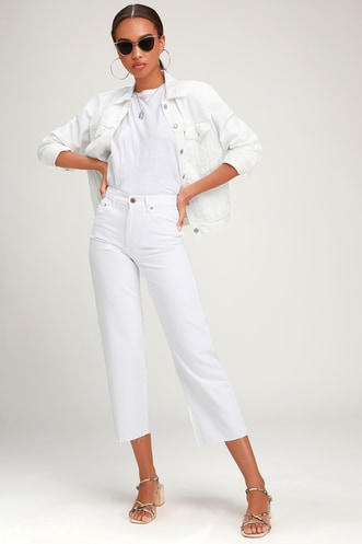 93aeafaa0d52 Cher White Wide Leg High-Waisted Cropped Jeans