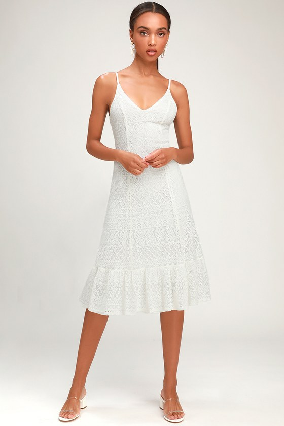 5a927f31a2 Cute White Dress - White Lace Dress - White Lace Midi Dress