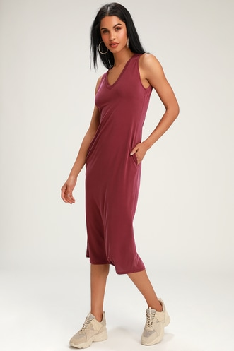 60015f0cfada Natalie Washed Burgundy Sleeveless Midi Dress