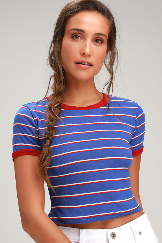 Charleigh Blue Striped Cropped Tee by Lulus