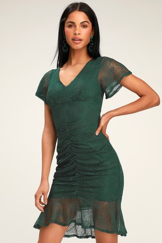 748bc6e34ce Harlou Forest Green Lace Ruched Bodycon Dress
