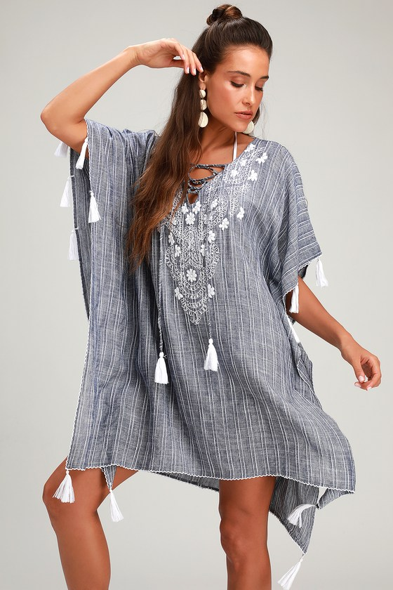 1c46ef082d Portside Blue and White Striped Embroidered Kaftan Swim Cover-Up