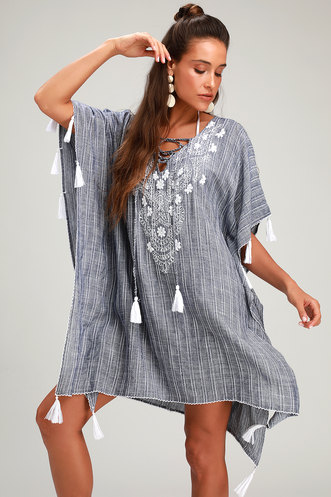 216a354fb866 Portside Blue and White Striped Embroidered Kaftan Swim Cover-Up