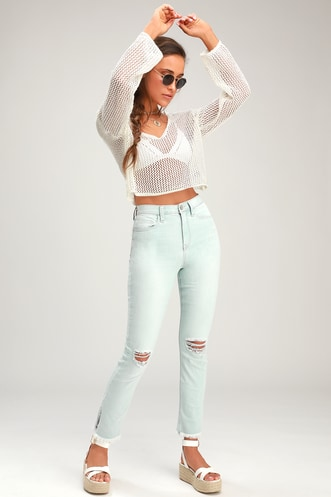 ae31f93082a9 Molly Light Wash Distressed Skinny Jeans
