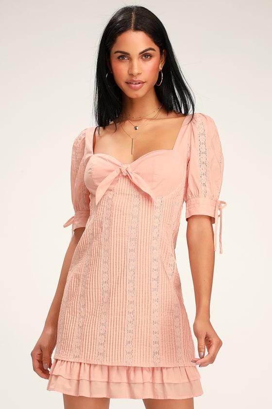 a220a415ff5d4 Cute Lace Dress - Blush Pink Lace Dress - Pink Lace Mini Dress
