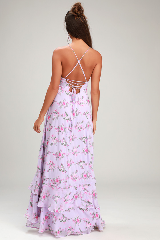 4dbf88050a4e Glam Lavender Wrap Maxi Dress - Lace-Up Dress - Ruffle Maxi Dress