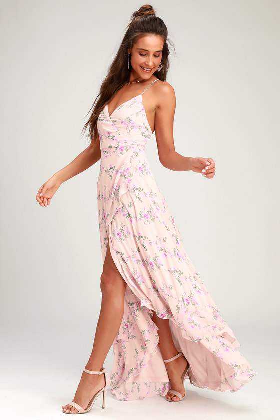 In Love Forever Blush Floral Lace Up High Low Maxi Dress