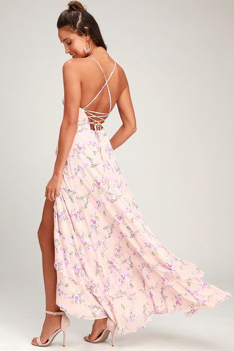 7806ce3cbb In Love Forever Blush Floral Lace-Up High-Low Maxi Dress