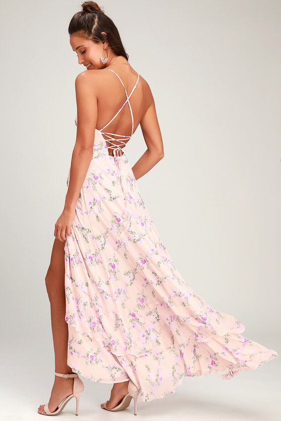 In Love Forever Blush Floral Lace-Up High-Low Maxi Dress