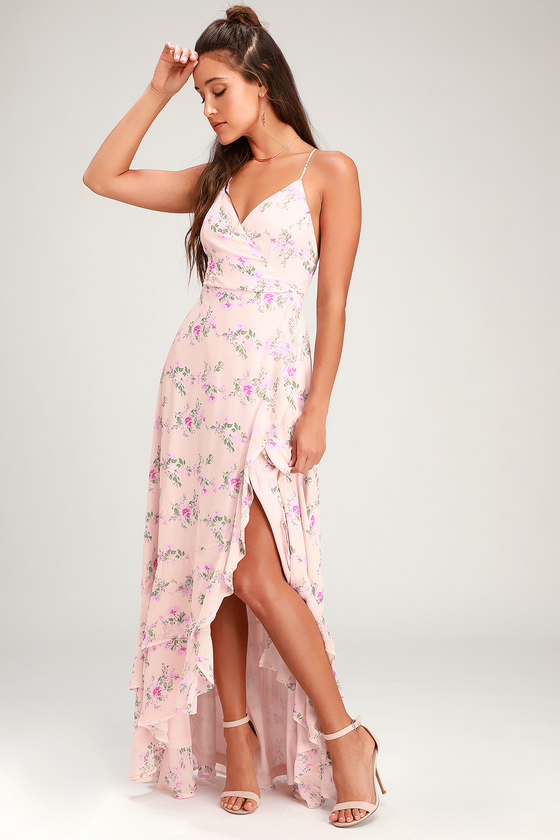 5c60c42e03 Glam Blush Wrap Maxi Dress - Lace-Up Dress - Ruffle Maxi Dress