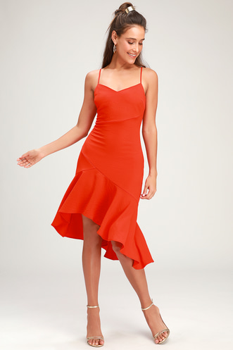 62a426939049 Eyes on You Coral Red Ruffled Asymmetrical Bodycon Dress