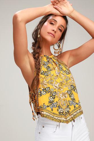 2fb8c54b2a187d Sofia Golden Yellow Floral Print Halter Crop Top
