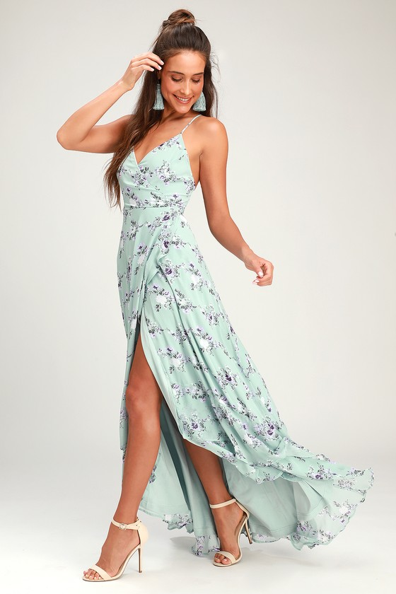 17e6eec5496 Glam Sage Wrap Maxi Dress - Lace-Up Dress - Ruffle Maxi Dress