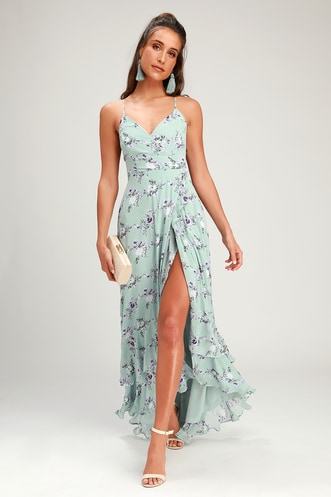 ca115a018d In Love Forever Sage Green Floral Lace-Up High-Low Maxi Dress