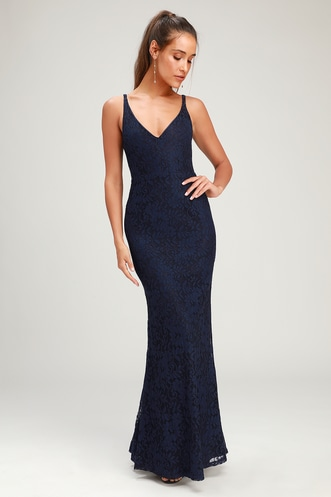 4a7746b8c4f Glam Galore Navy Blue Lace Sleeveless Maxi Dress
