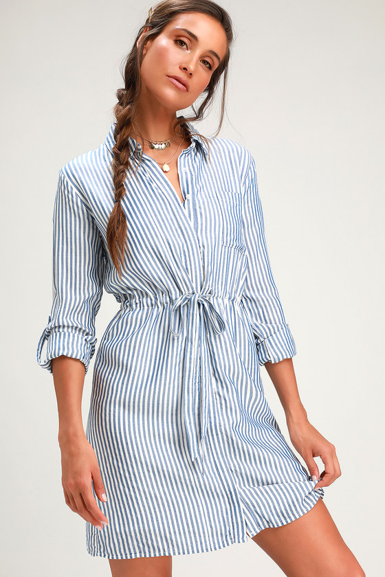 ea9174eb0af Lifestyle Blue and White Striped Long Sleeve Shirt Dress