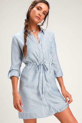 2dae2dcfd5a0 Lifestyle Blue and White Striped Long Sleeve Shirt Dress