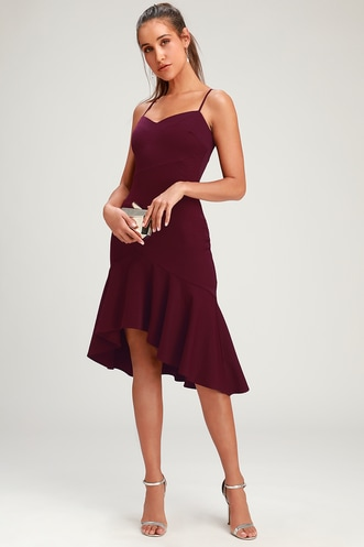 9cb8bf845149 Eyes on You Plum Purple Ruffled Asymmetrical Bodycon Dress