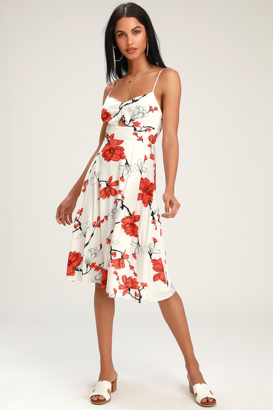 Blossom Babe White Floral Print Cutout Midi Dress by Lulus