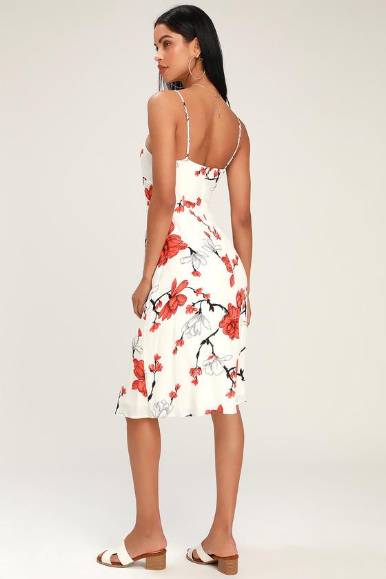 e6618f54429d Cute White Midi Dress - White Floral Midi Dress - Cutout Dress
