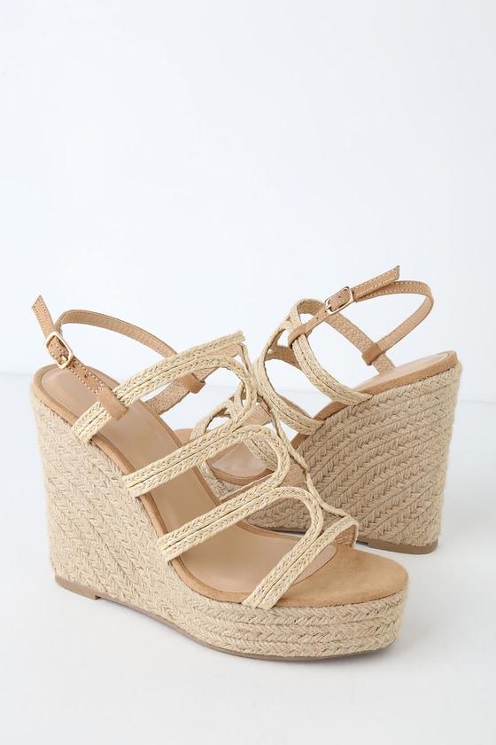 da3f2c5bbb Cute Tan Sandals - Espadrille Sandals - Espadrille Wedges