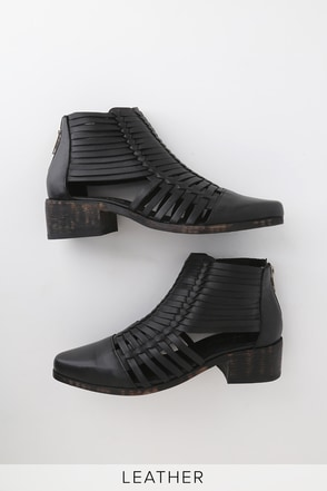abee19816d7 Mendoza Black Woven Leather Ankle Booties