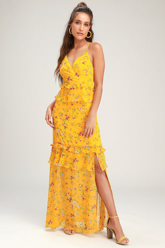 f24e689ced2ec Sunshine Bouquet Yellow Floral Print Ruffled Maxi Dress