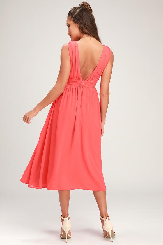 09b02714a355 Pretty Pink Dress - Coral Pink Midi Dress - Plunging V-neck Dress