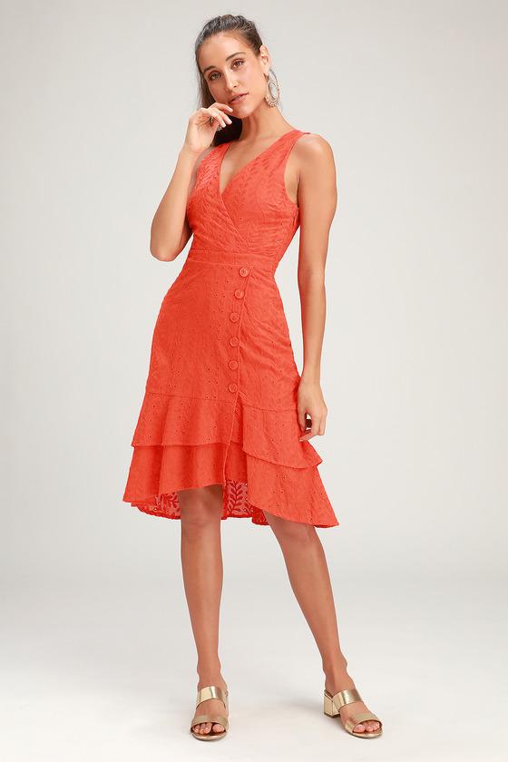bf451de32ea Cute Leaf Eyelet Dress - Midi Dress - Orange Ruffled Dress