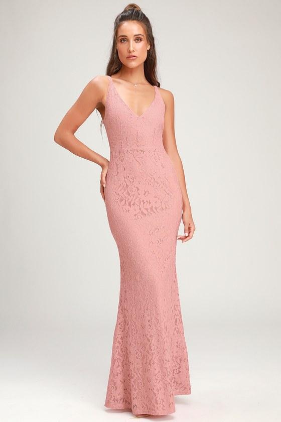 9720aa4b76 Stunning Mauve Pink Dress - Lace Maxi Dress - Mermaid Maxi Dress