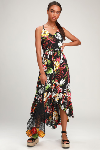 ea54933b9e9 Pura Vida Black Tropical Print Button-Up High-Low Midi Dress