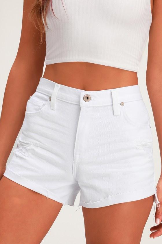 70s Shorts | Denim, High Rise, Athletic Kylee White High Rise Denim Cutoff Shorts - Lulus $44.00 AT vintagedancer.com