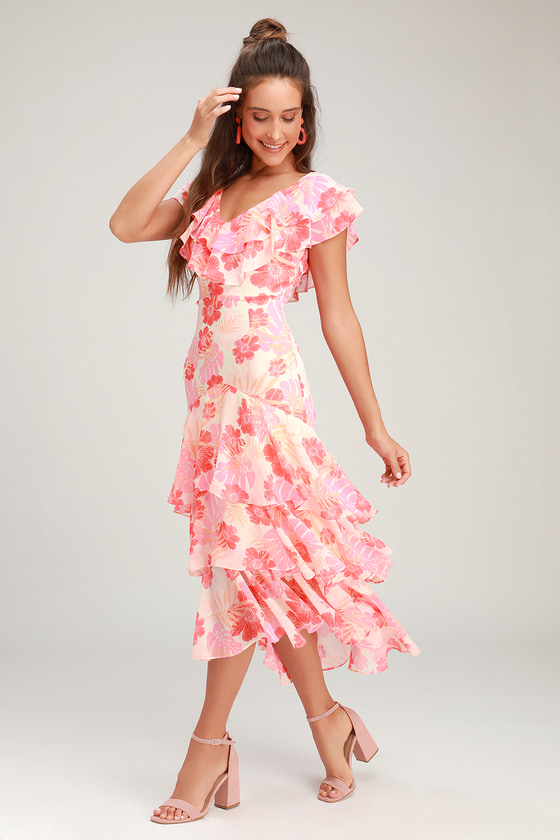 Downton Abbey Inspired Dresses Alison Pink Multi Floral Print Ruffled Midi Dress - Lulus $48.00 AT vintagedancer.com