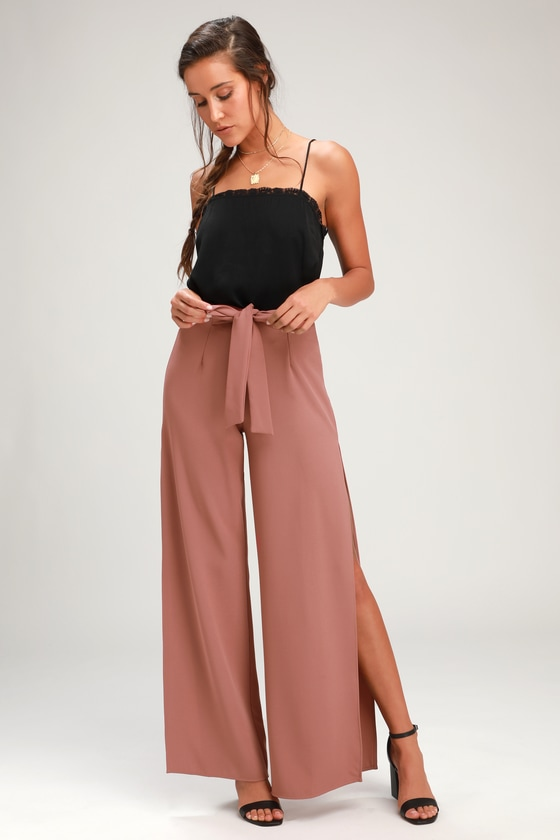 bafacc8374 Chic Mauve Pants - Wide-Leg Pants - Side Slit Pants