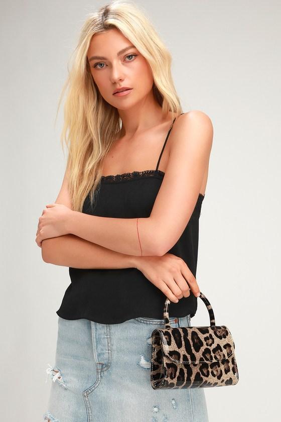 cbc8320b8f8 Chic Leopard Print Bag - Patent Vegan Leather Bag - Mini Bag
