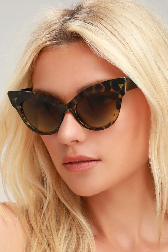 1950s Sunglasses & 50s Glasses   Retro Cat Eye Sunglasses Chick Flick Green Tortoise Cat-Eye Sunglasses - Lulus $6.00 AT vintagedancer.com