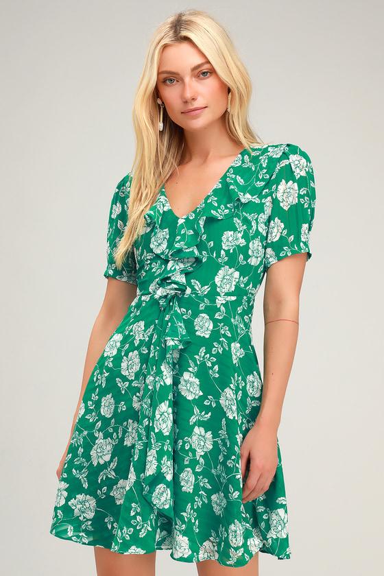 Ximena Green Floral Print Ruffled Short Sleeve Mini Dress by Lulus