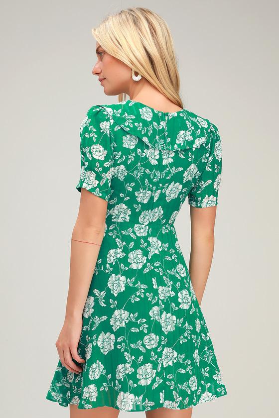 7efb4b9b94945 Cute Green Floral Print Dress - Floral Mini Dress - Ruffled Dress