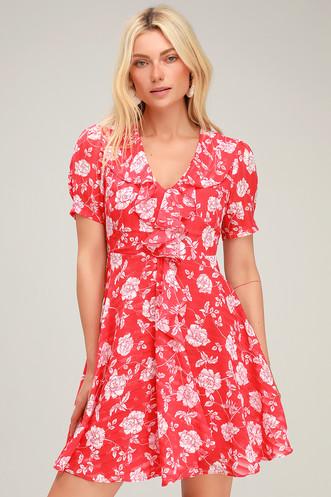 c84b63611bcf Ximena Coral Red Floral Print Ruffled Short Sleeve Mini Dress