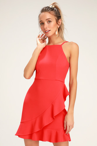 1d5e201ed3d1a Great Things Coral Red Ruffled Bodycon Dress